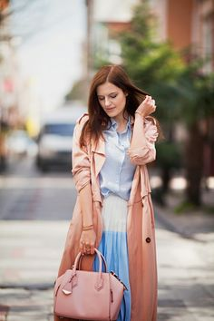 #midi #skirt #spring #coat #outfit #style #fashion #blue #pastel #bag