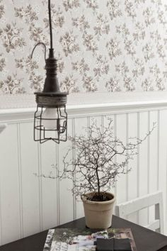 Vintage wallpaper from Boras Tapeter Interior Design Programs, Interior Wallpaper, Designer Wallpaper, Pattern Wallpaper, Old Houses, Home Projects, Light Fixtures, Home And Garden, Ceiling Lights