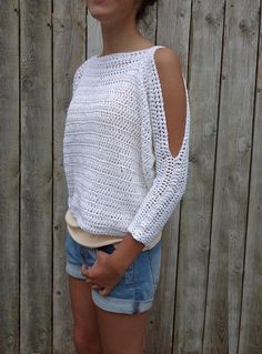 Crochet Pattern - Lily of the Valley Sweater/ Open Shoulders Cropped Jumper/Easy Handmade Top/ Oversized Pullover This modern rustic cropped sweater is a quick and easy project! Inspired by delicate scented Lily o Blouse Au Crochet, Débardeurs Au Crochet, Poncho Crochet, Pull Crochet, Mode Crochet, Crochet Style, Crochet Mandala, Crochet Gifts, Quick Crochet