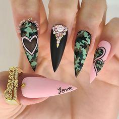 Glow Nails, Shiny Nails, Camo Nails, Swag Nails, Disney Acrylic Nails, Camo Acrylic Nails, Gucci Nails, Nails Design With Rhinestones, Nail Jewels