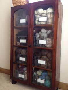 Yarn storage using wire baskets. For cabinets and countertop