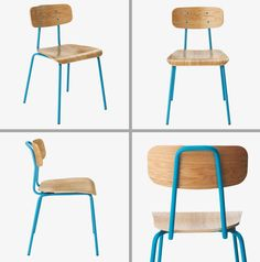 Bolero Ocean Blue Polypropylene Chair with Wooden Legs Robust and