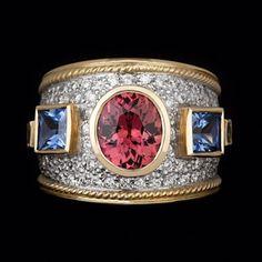 """The Princess Ring"" tourmaline, diamonds and ceylonese sapphire. King Design, Tourmaline Ring, Handcrafted Jewelry, Cuff Bracelets, Sapphire, Diamonds, Jewels, Jewellery, Princess"