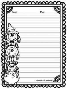 Halloween Write This Way ~ A Decorative Printable Lined October Writing Set. Lined Writing Paper, Printable Lined Paper, Kids Prints, Writing Activities, Conte, Compass Tattoo, In Kindergarten, Writing A Book, Elementary Schools