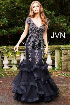 d4b8c95faf Black tiered prom dress by JVN.  plussizepromdress  prom2019 Silver Grey  Dress
