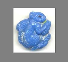 Vintage Button...Blue SQUIRREL...Glass Realistic
