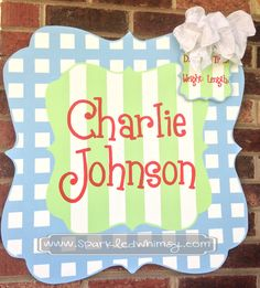 Personalized Checks and Stripes Baby Announcement Sign For Hospital Door (Light Blue/Mint) by SparkledWhimsy on Etsy