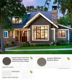 Craftsman style home with Renaissance Solid Brass windows. Thin veneer stone in a cutback style. Exterior paint color scheme using Benjamin moore's Dragon's Breath (cedar shakes), Gargoyle (siding) and Cloud Cover (trim).
