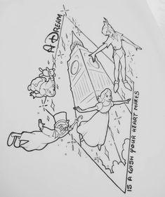 Without the text - Diy Tattoo Permanent Disney Sketches, Disney Drawings, Cartoon Drawings, Disney Coloring Pages, Colouring Pages, Coloring Books, Disney Tattoos Peter Pan, Body Art Tattoos, Sleeve Tattoos