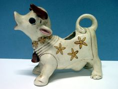 Antique Cow Creamer with Yellow Flowers by RabbitsInTheAttic