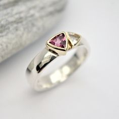 Pink tourmaline and white Topaz silver and gold ring
