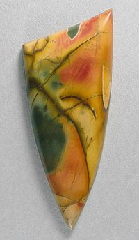 Cherry Creek jasper from China. Cab cut by Sam Silverhawk http://www.samsilverhawk.com/gems1.html