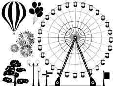 Ferris wheel vector thin line icon. Black on white