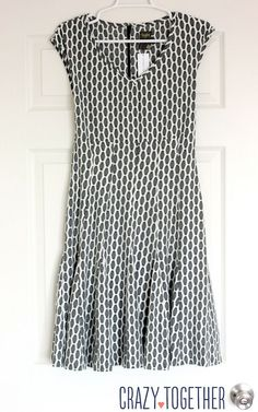 grey Taylor Izara Honeycomb Print Dress from Stitch Fix - love the bottom of this dress, how it's kind of pleated and flared