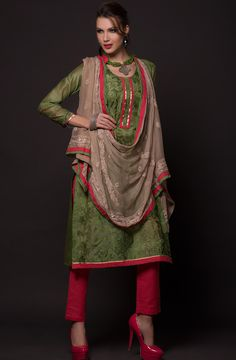 Teal Green & Red Unstitched Salwar Kameez - MT2010