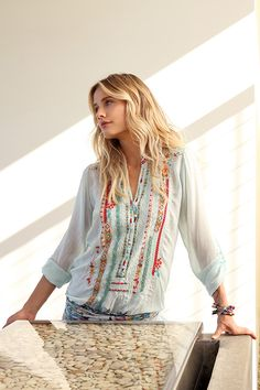 Johnny Was Collection Spring 2015 Lookbook featuring the embroidered Leanna Tunic