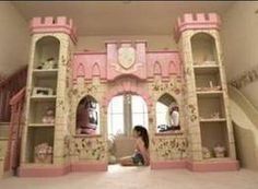 Perfect princess decorations with a slide down from the bed! This is a dream room for every little girl.