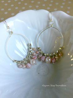 Pink Beaded Wire Chandelier Earrings by LaniMakana on Etsy