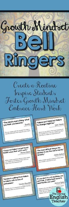 Mindset Bell Ringers Help your students develop a growth mindset with these inspirational bell ringers.Help your students develop a growth mindset with these inspirational bell ringers. Future Classroom, School Classroom, Classroom Ideas, Classroom Organization, Art Classroom Management, Teaching Strategies, Teaching Tips, Teaching Themes, Elementary Teaching