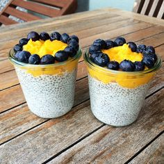 Chia pudding with almond milk, agave syrup, mango puree and blueberries