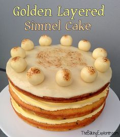 Golden Layered Simnel Cake Simnel Cake, Brownie Cake, Brownies, Savoury Baking, Easter Holidays, Marzipan, High Tea, Cupcake Cakes, Cupcakes