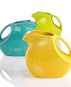 Fiesta ware pitchers, I love Fiesta Ware! I have plated and bowls, cups and saucers....I NEED a pitcher!