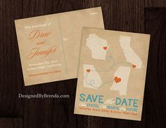 Rustic Style Save the Date Postcard w/ 4 Locations or States - Vintage Kraft Paper Look - DesignedByBrenda.com