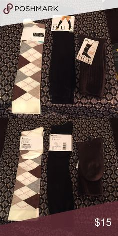 Hue Knee & Boot Socks Hue Knee & Boot Socks. Three pairs 1 Pair Argyle-Knee Sock, 1 Pair-Black Flat Knee Sock, 1 Pair- Short Brown Boot Sock. One Size Fits Most. Will also sell individually just let me know if your not interested in all 3 pairs. If interested in purchasing individually it $8 a pair. HUE Accessories Hosiery & Socks