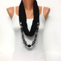 black jewelry scarf