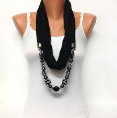 black jewelry scarf