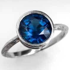 Vintage Bezel Set Round Sapphire Engagement Ring Platinum