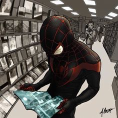 This HD wallpaper is about Marvel Spider-Man comic illustration, costume, superhero, Marvel Comics, Original wallpaper dimensions is file size is Comic Book Characters, Marvel Characters, Comic Books Art, Comic Art, Marvel Comics, Marvel Vs, Cosmic Comics, Ultimate Spider Man, Miles Morales
