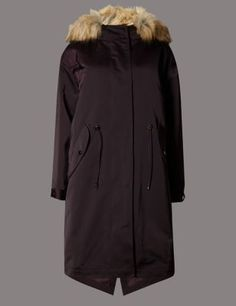 Faux Fur Trim Hooded Parka with StormwearTM