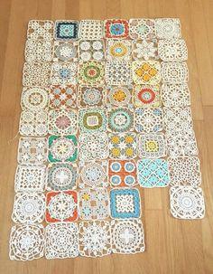 Beautiful granny square with p Crochet Blocks, Crochet Squares, Crochet Granny, Crochet Motif, Crochet Doilies, Free Crochet, Knit Crochet, Crochet Bedspread, Crochet Curtains