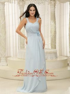 Straps Ruched Bodice and Hand Made Flowers Baby Blue Bridesmaid Dress In New York- $108.87  https://pinterest.com/Fashionos/  http://www.youtube.com/user/fashionoscom?feature=mhee   The baby blue color feathers grace yet lovely feeling. Two straps connecting the sexy sweatheat bustline to the exquisite and ruched back, which features a zipper up style. A delicate handed flower accents the midsection from where extending a soft layer of fabric