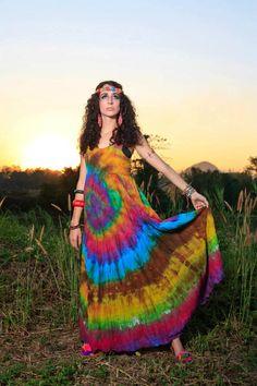 Rainbow Cotton Maxi Dress/batik/boho by CHEZMOIMYHOME on Etsy