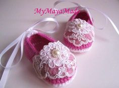 Lace Beaded Fuchsia Wool Crochet Baby Booties - Size From 0-12mos. $24.99, via Etsy.