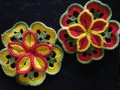 Объёмный цветок из квадратов Вязание крючком Volumetric flower of square...