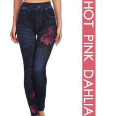 """HOT PINK DAHLIA FLOWER DETAIL JEGGINGS! Everyone loves the ease and comfort of these jeggings. Here are some cuties with hot pink Dahlias. One size fits about 6-18. 95% polyester, 5%. spandex.                                             ♦️WAIST: 25-39"""" HIPS 28-44"""" INSEAM 25"""" BUT WILL STRETCH TO 34""""   PLEASE DO NOT BUY THIS LISTING, I will personalize one for you. tla2 Pants Leggings"""