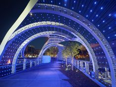 "SPF:architects (SPF:a), an award-winning design studio based in Culver City, is excited to announce that the Long Beach Seaside Way Convention and Performing Arts Center Pedestrian Bridge, or ""Rainbow Bridge"", is now open to the public. SPF:a Long Beach, Carl Stahl, Led Light Design, Lighting Design, Pathway Lighting, Bridge Design, Pedestrian Bridge, Seaside Towns, Patio Roof"