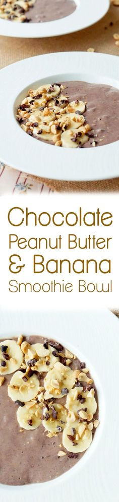 My favourite flavour combination of Peanut Butter, Banana, and Chocolate shines in the this healthy Smoothie Bowl recipe!