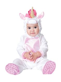 This Magical Unicorn Baby Costume comes with a hood with ears and horn 63b0cd3b3a02