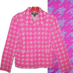 ST JOHN Houndstooth Jacket Pink Tweed Knit Blazer Suit Boucle Check Grey Plaid 8 #StJohn #Blazer