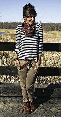 For a casual weekend look, pair your stripes with cargo pants and boots. Add a touch of femininity with a floral print scarf.