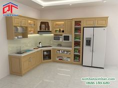 Tủ bếp gỗ thiết kế thông minh cho phòng bếp nhẹ nhàng PTM22