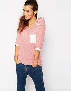 Daisy Street Stripe Breton T-Shirt With 3/4 Sleeve
