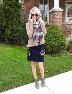 Winter outfit, corduroy embroidered skirt, v neck sweater, olive ankle boots, tiaras and heels blog