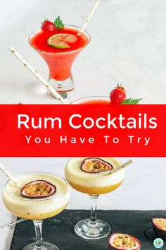 A collection of easy rum cocktails, including daiquiries and frozen cocktails, perfect for cocktails in the garden on a hot sunny day #rumcocktails #frozencocktails #easycocktailrecipes Frozen Cocktails, Winter Cocktails, Easy Cocktails, Cocktails To Make At Home, Frozen Daiquiri, Rum Cocktail Recipes, Cocktail Making, Food To Make
