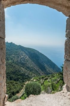 A view taken from an opening of the bulwarks of the medieval town of Eze.