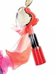 Giorgio #Armani Rouge Ecstasy lipstick in 300 Pop; silk scarf by Giorgio Armani.